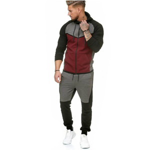 2020 New Men Sets Brand Tracksuit Autumn Winter Stitching Hoodies Suit Outdoor Sports Leisure Sportswear Two Piece Streetwear