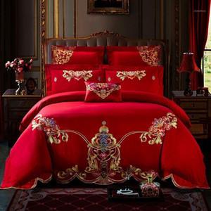 Luxe 100% coton Beau Chapitre Chapitre Literie de mariage Ensemble de couverture de couette de broderie Taie d'oreiller Taie d'oreiller Queen King taille J / 6 / 7PCS1