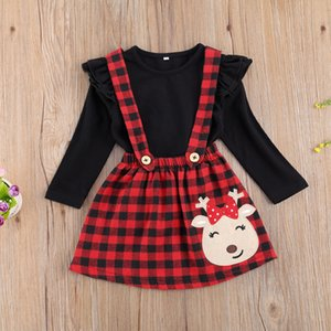 Ma&Baby 1-6Y Christmas Toddler Kid Girls Clothes Set Black Top Red Plaid Skirts Cartoon Deer Xmas Outfits Children Costumes