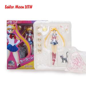 Sailor Moon Figure Tsukino Usagi Figure Mercury Mars Venus Jupiter 20TH Anniversary Movable Joints Black Lady Action Figure 15cm 201202