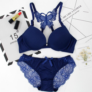 Elovegirl Front Button Bra Underwear with Transparent Back Gathered Panties Lace Sexy Lingerie Set Girl Tempting Lingerie Sets