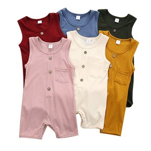 Infant Baby Button Jumpsuit Girls Pocket Romper Onesies Kids Casual Clothes Boys Solid Sleeveless Jumpsuits Kids Casual Outfits 3-18M 06