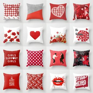 "New Red Plaid Pink Lolita Cushion Covers Lovely Red Print Geometric 18"" Pillows Cover Decorative Modern Nordic Throw Pillow Case"