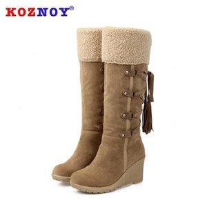 Koznoy Kadınlar Çizme Sonbahar Kış Dilimleri Katı Fringe Peluş Kadınlar Boots High Silindirler dropshipping Moda Slip, Slopes