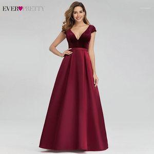 Fête Robes Sexy Soirée Bourgogne Vraiment Jolie EP00982BD A-Line Col V Veleur Élégante Robes longues Abiye Gece Elbisesi 20211