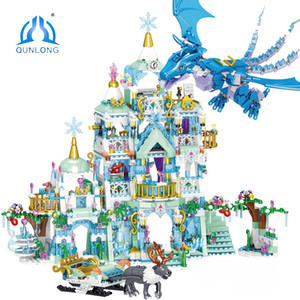 QUNLONG For Girl House Princess Castle Ice Castles Dragon Jurassic Dinosaur Building Blocks Friends Figures Bricks Toys