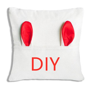 DIY Blank Linen Easter Rabbit Ear Cushion Covers Sublimation Heat Thermal Print Sofa Home Car Pillow Case Covers Party Ornament 40cm LY2013