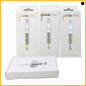 PURE ONE Vape Tank Glass Cartridge Ceramic Carts 0.8 1.0ml press on tip Vaporizer krt Pens for Thick Oil atomizer