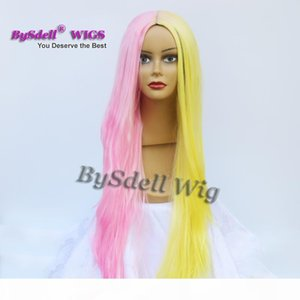 Beauty Harajuku Pastel Yellow Joint Pink Color Wig Synthetic Long Straight None lace wig Lace Front Wig Full Lace Wigs for Sale