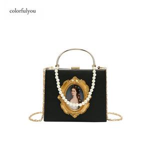 Baroque vintage handbag women bags Princess avatar PU Crossbody Bags Luxury Designer Female Bag Pearl chain messenger bag 200928