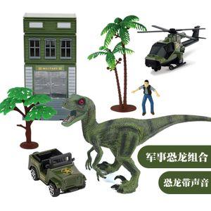 Set di bambini Simulation World Capture Model Toy Car Trolley Combinazione Dinosaur Belt Sound