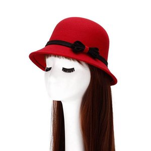 1 Pcs 2020 European Fashion Women Fedoras Hat Spring And Autumn Artificial Wool Bowknot Bucket Hat Cotton 6 Colors 8108