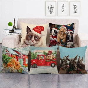 wholesale pillowcase cat and dog donkey happy christmas pillow cover linen cotton sofa cushion cover decorative pillows