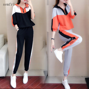 Semfri Cotton Womens Tracksuit Spring Autumn Casual Sports Two Piece Set Fashionable Korean Version Loose Style Track Suit 201009