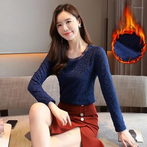Fashion Plush velvet thick Lace Women's Blouse Shirts Tops Long sleeve Autumn Winter New slim fit Mesh O-neck Lace Top 722H1