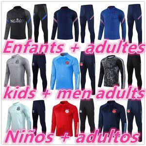 20 21 Crianças + Homens Adultos Chandal Tracksuit Jersey Jacket 2020 2021 Futebol Tracksuit Futebol Formação Terno Jogging Ajax Espanha Bélgica