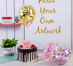 5 pulgadas Transparente Balloon Cumpleaños Cumpleaños Decoración de la lentejuela Balloon Neto Red Party Pastel de hornear Suministros de Horneado Plug-In Decoración de la fiesta