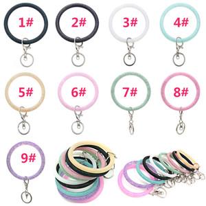 Silicone Wrist Key Ring Fashion Glitter Bracelet Sports Keychain Bracelets Bangle Round Key Rings Large O Cute Keyring Jewelry DB435