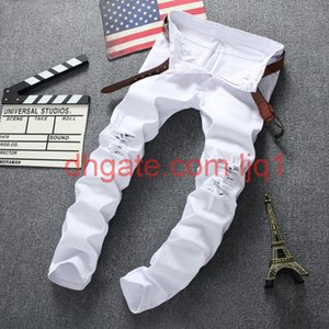 Hot Sale Black Jeans Skinny Ripped Destroyed Stretch Slim Fit Hop Pants With Holes For Men