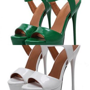 Aneikeh Big Shoe Size 41 42 43 44 45 46 High Heels Sandals Summer Sexy Open Toe Party Dress 16CM Platform Gladiator Women Pumps C0128