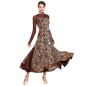 Leopard long sleeve Ballroom Dance Dress Practice Clothes Modern dance one piece group clothes Flamenco rumba Samba waltz dress