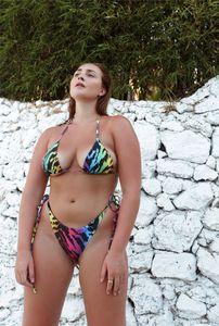 다채로운 표범 인쇄 섹시한 비키니 패션 여성 2 조각 수영복 레트로 스트라이프 스타일 온천 수영복