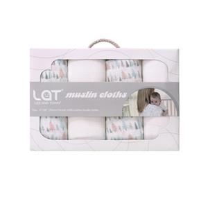 4 stück / box baby junge mädchen neugeborene baumwolle muselin quadrat waschbar premium wiederverwendbare windel windel twipes bad tuch handtuch decke geschenk y201009