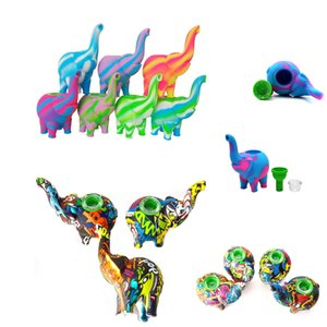 4.5 inches Silicone pipe Elephant Mini Smoking Pipe with printing silicone pipes Hand Pipe Dab Rigs for Wholesale