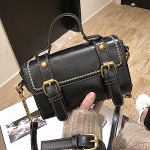 Retro PU Leather Elegant Women Messenger Bags Top Handle Designer Crossbody Bag Small Fashion Belts Boston Flap Shoulder Bag