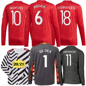 Long sleeve Manchester 20 21 UTD soccer jerseys united BRUNO FERNANDES soccer jersey MARTIAL RASHFORD football shirts 2020 2021 VAN DE BEEK