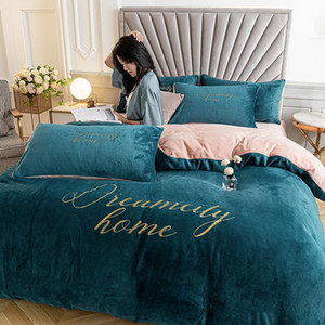 Bedding Set Home Duvet Cover Bed Linen and Pillowcase Winter Warm Velvet Quilt Cover Sheet Double Couple Queen Bedspread 220x240