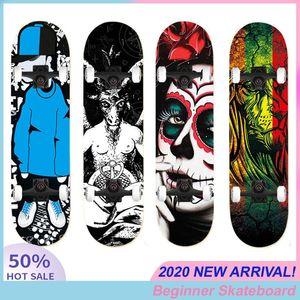 Hip-hop Adults Children Double Rocker Skateboard Beginner 80*20CM Skate Board Skull Printing Natural Maple Wood Four Wheels