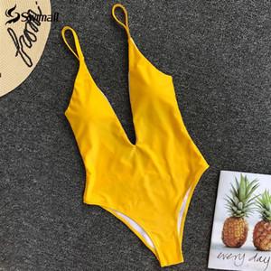 Solid One Piece Swimsuit Sexy Swimwear Women High Cut Monokini Beach Wear Backless Bathing Suit Bodysuit Maillot De Bain Femme T200710