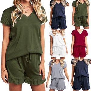 5 colors Hot selling 2021 spring and summer home two piece sets New women's Solid color casual drawstring shorts v-neck short sleeve pajamas