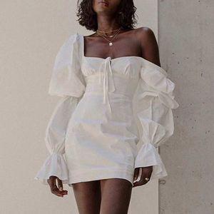 Moda feminina Vestidos sexy com Puff mangas New Casual Mulheres cor sólida Breve Bodycon vestidos de alta qualidade senhoras vestido S-XL