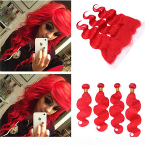 Brazilian Human Hair Pure Red Body Wave 4Bundles and Frontal Bright Red Wavy Virgin Human Hair Weave Wefts with 13x4 Lace Frontal Closure