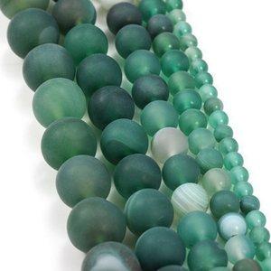 1trand lot 4 6 8 10 12 mm de bandes vertes mates Agate Beads Pierre Perles perles en vrac pour bricolage Bracelet Bijoux Fournitures H Bbyoup