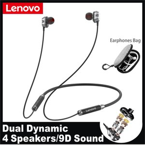 Lenovo HE08 Dual Dynamic Wireless Bluetooth Earphone Neckband Headphones with microphone HIFI Stereo 4 Speakers Sports Headset