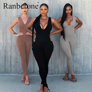Ranberone 2020 Women Skinny Bodysuit Sports Wear Workout Solid Playsuit V Neck Jumpsuit Fitness Gym Yoga Set Women's Tracksuit