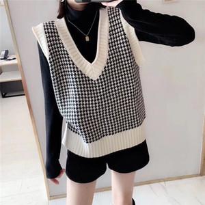 Angora malha de lã Houndstooth Geometric Vest Sweater Mulheres inverno coreano Vintage Plaid V Neck mangas Pullover Jumper Top 200930