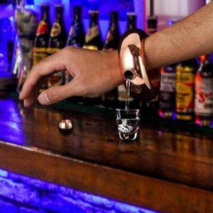 3,5 Unzen 100 ml Edelstahl-Weinflasche Armband Hip Flask Armbänder Flasche tragbare Runde Glas-Parteidekoration Wein Container LJJP769