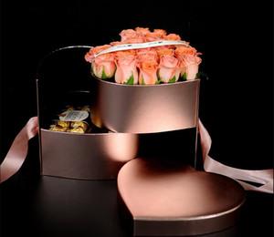 2021 심장 모양의 더블 레이어 회전 꽃 초콜릿 선물 상자 DIY 웨딩 파티 장식 발렌타인 데이 플라워 포장 케이스 DHL 무료