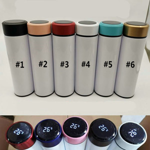 Blank Sublimation Water Bottle Temperature Water Bottle Stainless Steel Smart Mug 500ML Thermal Bottle With LCD Touch W64