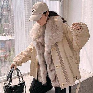 Zdfurs * 2020 Neue Pelzparker Frauen Abnehmbare Pelzmantel mit Kragen Innen Liner Winter Warme Kleidung1