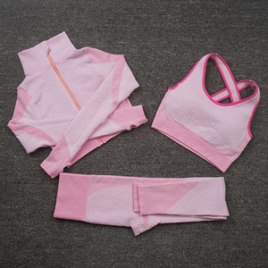 Yoga Outfits Femmes Zip Up Set d'entraînement Vêtements à manches longues Crop Top Fitness Bra Leggings Seamless Gym Sport Costume Running Tracksuits