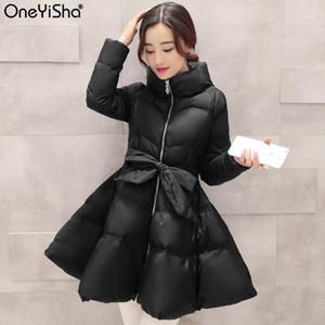Oneyisha 2020 Inverno Alta Qualidade Colarinho Manga Longa Ajustável Cintura Patchwork Coréia Femals Algodão Vestuário1