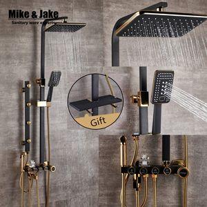 De lujo negro bidé de oro con el conjunto de estantería de oro de baño Ducha Bañera establece grifo 1011