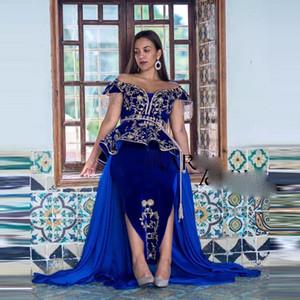 Royal Blue Black Moroccan Kaftan Caftan Muslim Evening Dresses Sheath V-neck Applique Dubai Arabic Turkey Abaya Islamic Gowns