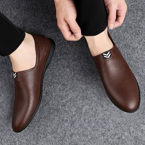Men's Peas Shoes Comfortable Genuine Leather Men Casual Shoes Breathable Loafers Slip-on Footwear Walking Driving Shoes * 201019
