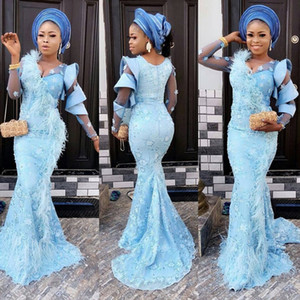 Aso Ebi Mermaid Evening Dresses Illusion Long Sleeves Flower Appliques Feathers Prom Dress Ruffles African vestidos de fiesta